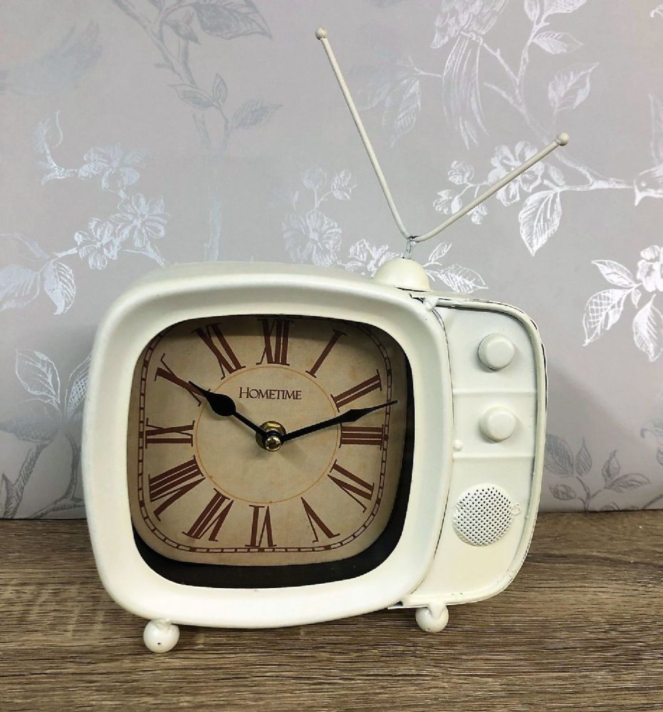 Retro TV Clock Metal Old Fashioned Television Mantel Desk Clock